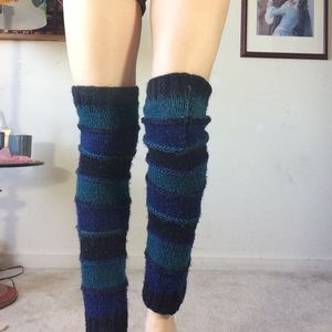 Urban Outfitters Accessories - Blue knit stripe leg warmers